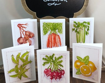 """Watercolor """"Vegan's Delight"""" Note Card Collection - 6 Blank cards w Envelopes"""