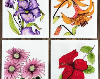 Flower Garden Watercolor Notecard Set - 4 Cards w Envelopes