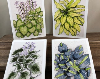 Hosta Watercolor Note Card Set - 4 Blank Cards w Envelopes