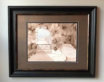 """8""""x10"""" Watercolor Print - """"He Is Risen"""" - Empty Tomb"""