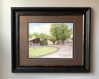 """8""""x10"""" Watercolor Print-Mohican State Park Lodge, Perrysville, Ohio"""