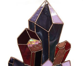 Amethyst Crystal Stalactite Stained Glass Suncatcher - Renter Friendly. Original Design, Boho Chic Decor