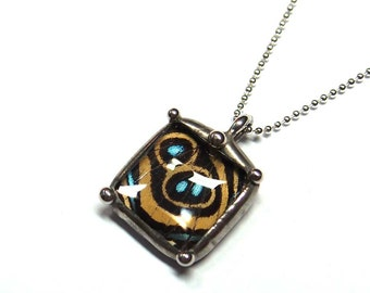 Little Callicore Butterfly Necklace - A Petite Square Pendant with a Real Butterfly Wing - Nature Insect Jewelry Handmade by Neile