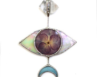 Small Evil Eye Stained Glass Suncatcher - Spring Style with Pressed Flower and Quartz Crystal
