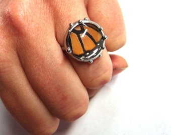 Monarch Butterfly Ring - Real Butterfly Jewelry - Size 7 Ring - Boho Jewelry, One of a Kind