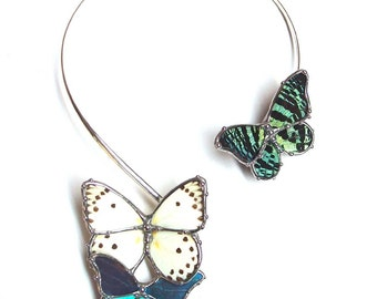 Collar Style Statement Necklace with Real Butterflies - Woodland Nature Bride - Real Butterfly Jewelry