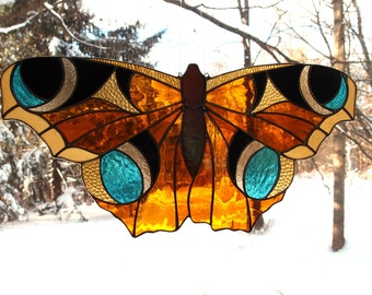 Stained Glass Butterfly Suncatcher -Beautiful and Colorful Art Glass - Original Design