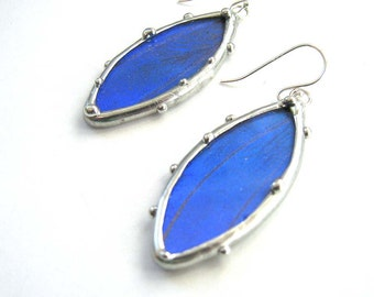 Blue Mopho Butterfly Petal Earrings
