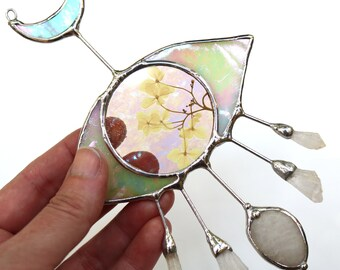 Small Evil Eye Stained Glass Suncatcher - Spring Style with Pressed Flowers