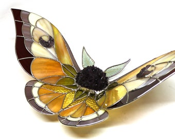 Stained Glass Moth Sculpture - Large Amethyst Flower Fuzzy Body and Amethyst Druzy Crescent Moon Wings