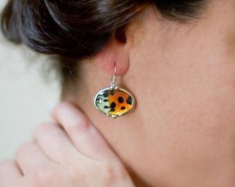 Oval Sunset Moth Earrings