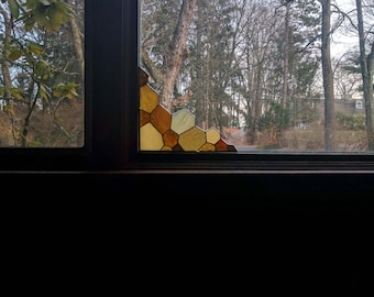 Stained Glass Honeycomb Suncatcher for Window or Door Corner - MADE to ORDER