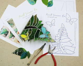 DIGITAL DOWNLOAD Tutorial and Pattern- Forest Treasures Box - Stained Glass Box Tutorial