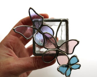 Little Butterflies Ring Box - Stained Glass Keepsake Box or Ring Box
