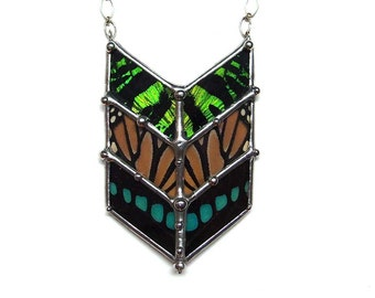 Chevron Necklace with Real Butterfly Wings