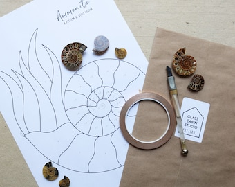 PATTERN - Stained Glass Pattern and Tutorial - Ammonite Fossil