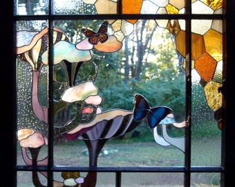 Stained Glass Window with Psychadelic Oyster Mushrooms, Honeycomb, and Real Butterflies  Woodland Fantasy