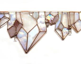 Rose Quartz Crystal Stained Glass Suncatcher - Renter Friendly. Original Design, Boho Chic Decor
