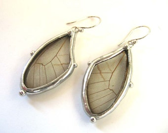 Butterfly Wing Earrings - Real Butterfly Jewelry - Small Clear Delicate Wings on a Dangle Earring - Boho Chic Jewlery for a Nature Lover
