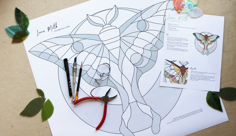 PATTERN  Stained Glass Pattern  Luna Moth image 1