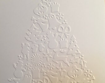Embossed Christmas tree holiday cards.