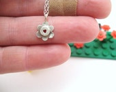Tiny Flower Pendant - hand cast sterling silver - Building Block Collection