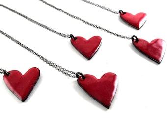 Red Enameled Heart Pendant - Reversible