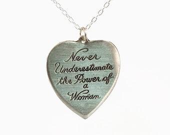 Never Underestimate Women Heart Pendant - Planned Parenthood Fundraiser