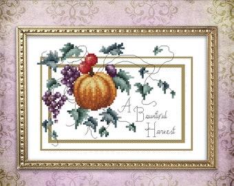 Thanksgiving Cross Stitch Pattern Leaflet A Bountiful Harvest by Pamela Kellogg