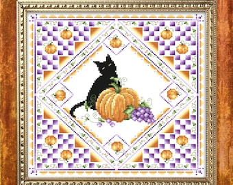 Halloween Cat Cross Stitch Pattern PDF Instant Download