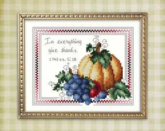 In Everything Give Thanks 1 Thessalonians 5 18 Cross Stitch Pattern Leaflet by Pamela Kellogg