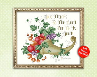 Give Thanks To The Lord Thanksgiving Cornucopia Cross Stitch Pattern Instant Digital PDF Download by Pamela Kellogg
