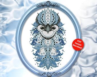 Colorful Birds Series Blue Jay Cross Stitch Mandala Pattern PDF Download by Pamela Kellogg