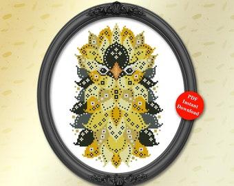 Cross Stitch Pattern Colorful Birds Series Mandala Goldfinch Digital PDF Download by Pamela Kellogg