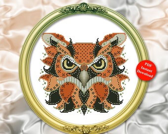Colorful Owl Edgar Cross Stitch Pattern Instant Digital PDF Download by Pamela Kellogg