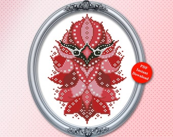 Colorful Birds Cardinal Geometric Mandala Series Cross Stitch Pattern Instant Digital PDF Download by Pamela Kellogg