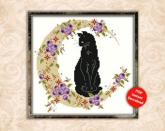Harvest Moon Cat Cross Stitch Pattern Instant Digital PDF Download by Pamela Kellogg