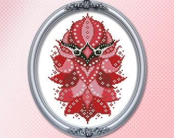 Colorful Birds Cardinal Geometric Mandala Series Cross Stitch Pattern Printed Booklet by Pamela Kellogg