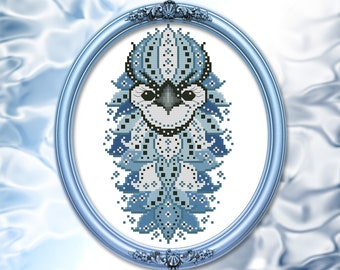 Colorful Birds Series Blue Jay Cross Stitch Mandala Pattern Printed Booklet by Pamela Kellogg