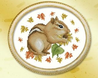 Autumn Chipmunk Cross Stitch Pattern Printed Leaflet by Pamela Kellogg