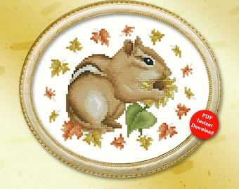 Autumn Chipmunk Cross Stitch Pattern Instant Digital PDF Download by Pamela Kellogg