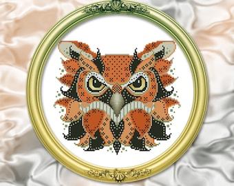 Colorful Owl Edgar Cross Stitch Pattern Leaflet by Pamela Kellogg
