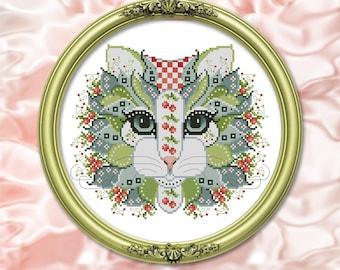Colorful Cats Cherry Berry Cross Stitch Printed Pattern Leaflet by Pamela Kellogg