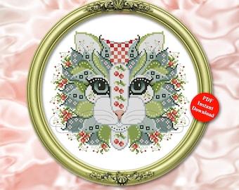 Colorful Cats Cherry Berry Cross Stitch Pattern Instant Digital PDF Download by Pamela Kellogg