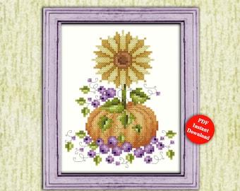 Autumn Sunflower Counted Cross Stitch Pattern Instant Digital PDF Download by Pamela Kellogg