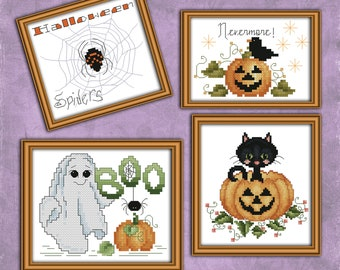 Halloween Ornaments Counted Cross Stitch Pattern Leaflet by Pamela Kellogg