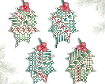 Cross Stitch Christmas Ornaments Crazy Holly Leaves Printed Pattern Leaflet by Pamela Kellogg