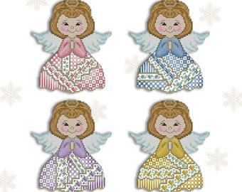 Cross Stitch Crazy Angels Christmas Ornaments for Perforated Paper Printed Pattern Leaflet by Pamela Kellogg