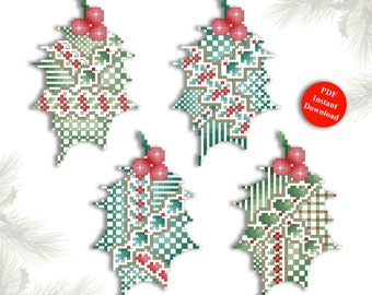 Cross Stitch Christmas Ornaments Crazy Holly Leaves Instant Digital PDF Download by Pamela Kellogg