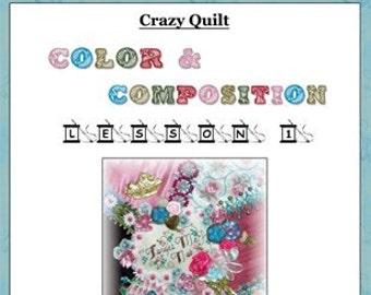 Crazy Quilt Block Pattern Forget Me Not by Pamela Kellogg